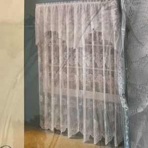 Scalloped Lace White Curtain - one panel